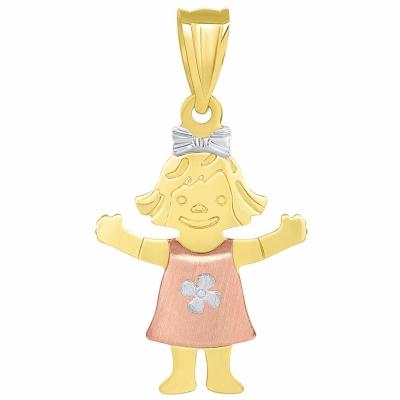 Solid 14k Tri Color Gold Smiling Little Girl Figure Charm Pendant