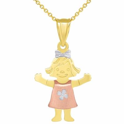 Solid 14k Tri Color Gold Smiling Little Girl Figure Charm Pendant Necklace