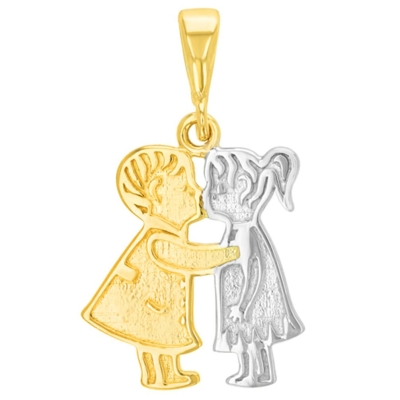 14K Yellow Gold Boy and Girl Kissing Charm Pendant