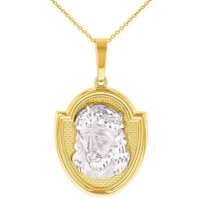 14K Two-Tone Gold Jesus Christ Medal God Bless Us Pendant Necklace
