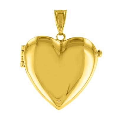 Solid 14K Yellow Gold Heart Shaped Locket Charm Pendant