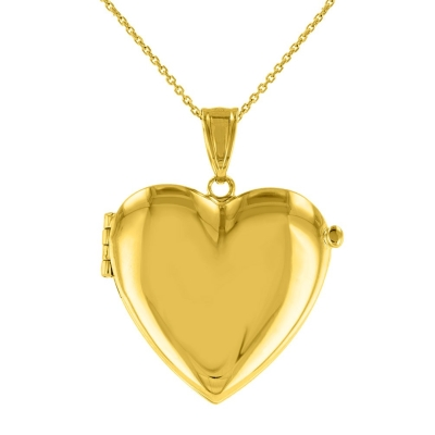 Solid 14K Yellow Gold Heart Shaped Locket Charm Pendant Necklace