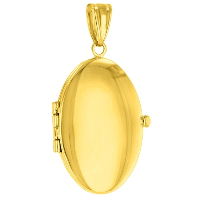 Solid 14K Yellow Gold Oval Locket Charm Pendant