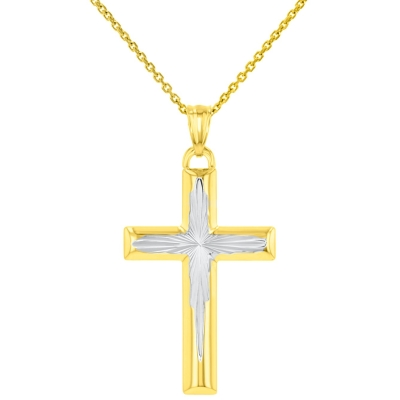 High Polished 14K Yellow Gold Textured Cross Pendant Necklace
