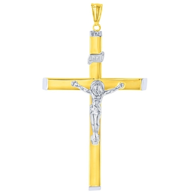 14k Two-Tone Gold Hollow Large INRI Crucifix Pendant