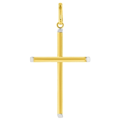 14K Two-Tone Gold Plain Slender Cross Pendant with High Polish