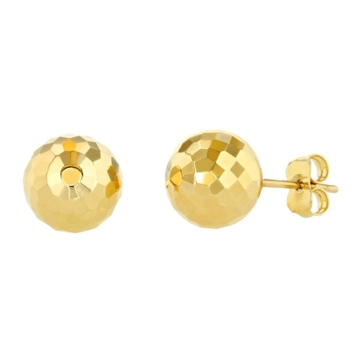 14k Yellow Gold Hammered Ball Earrings Round Sphere Studs, 9.2mm