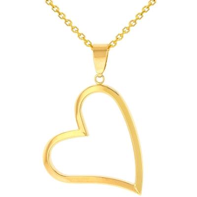 14K Yellow Gold Polished Fancy Sideways Heart Pendant Necklace