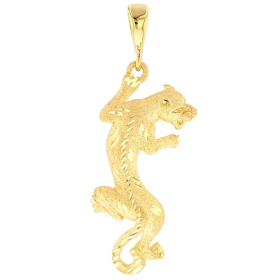 14K Yellow Gold Textured Vertical Panther Charm Animal Pendant