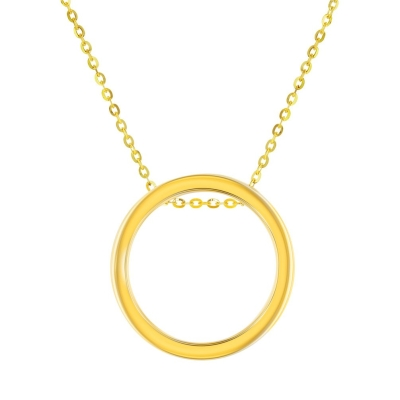 Polished 14K Yellow Gold Simple Circle of Life Necklace