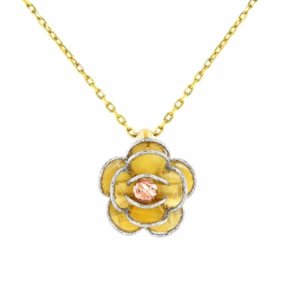 14K Tri Color Gold Textured Blooming Flower Pendant Floral Necklace