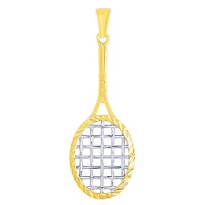 14K Yellow Gold Textured Tennis Racquet Charm Sports Pendant