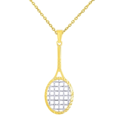 14K Yellow Gold Textured Tennis Racquet Charm Sports Pendant Necklace