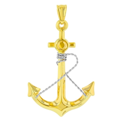 14K Two-Tone Gold Polished Navy Anchor with Rope Charm Nautical Pendant