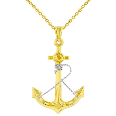 14K Two-Tone Gold Polished Navy Anchor with Rope Charm Nautical Pendant Necklace