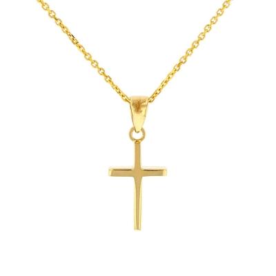 Solid 14k Gold Reversible Dainty Slender Cross Charm Pendant Necklace