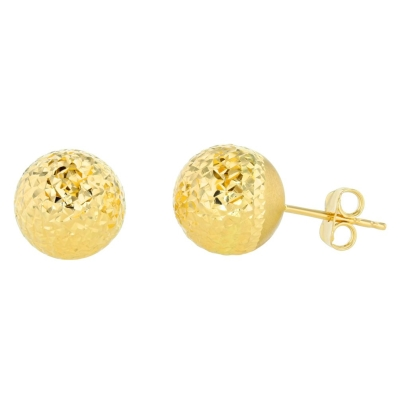 Polished 14k Yellow Gold Textured Ball Round Stud Earrings, 11mm