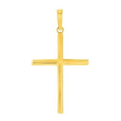 14K Yellow Gold Plain Slender Cross Pendant with High Polish