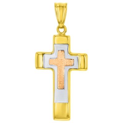 14K Rose & Yellow Gold Tricolor Religious Cross Charm Pendant