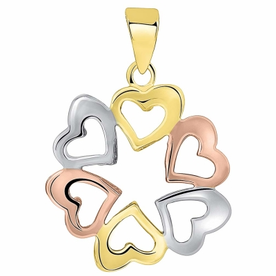 Solid 14K Tri-Color Gold Round Heart Charm Love Pendant