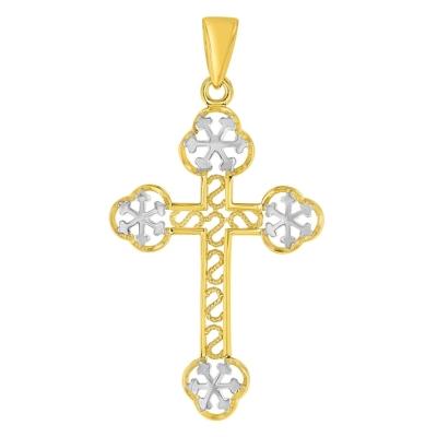 14K Yellow Gold Eastern Orthodox Cross Charm Pendant