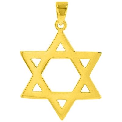 Solid 14K Yellow Gold Star Of David Hebrew Pendant