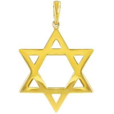 Solid 14K Yellow Gold Large Star of David Charm Jewish Symbol Pendant