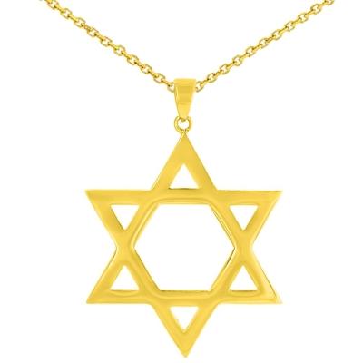 Solid 14K Yellow Gold Large Star of David Charm Jewish Symbol Pendant Necklace