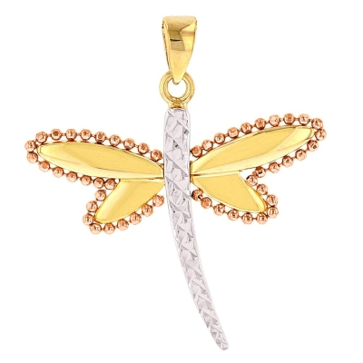 Solid 14K Yellow Gold and Rose Gold Milgrain Dragonfly Pendant with Texture