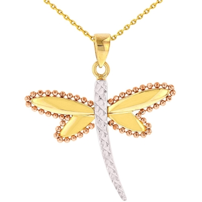 Jewelry America Textured 14K Yellow Gold and Rose Gold Milgrain Dragonfly Pendant Necklace