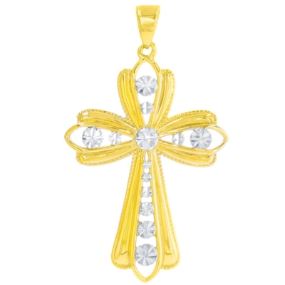 14K Yellow Gold Polished Milgrain Edged Cross with Texture Pendant