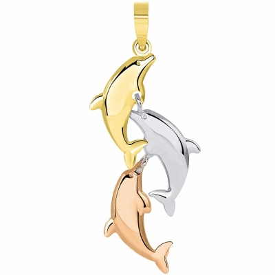 14k Tri Color Gold 3D Three Dangling Dolphins Jumping Vertical Pendant