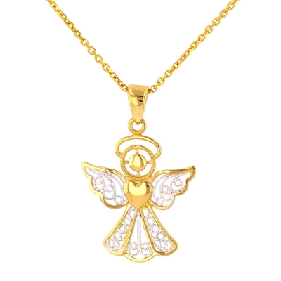 Polished 14K Gold Filigree Angel with Heart Pendant Necklace