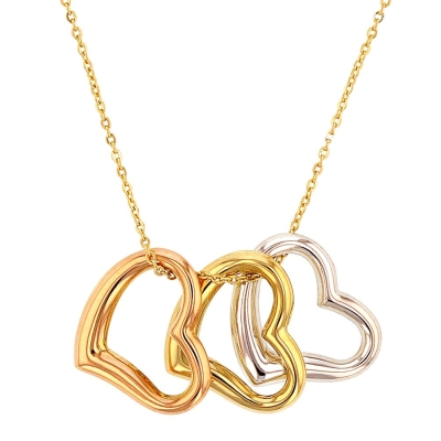 Jewelry America 14K Tri-Color Gold Polished Three Open Heart Necklace
