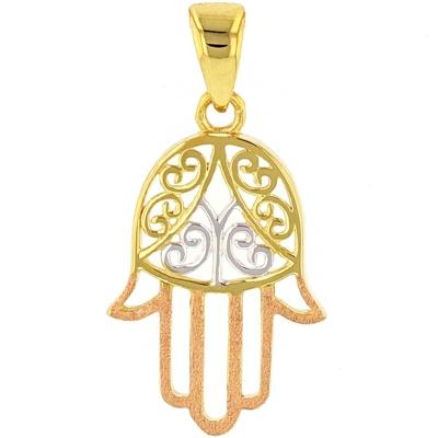 Jewelry America Solid 14K Gold Hamesh Hamsa Hand of Fatima with Filigree Charm Pendant