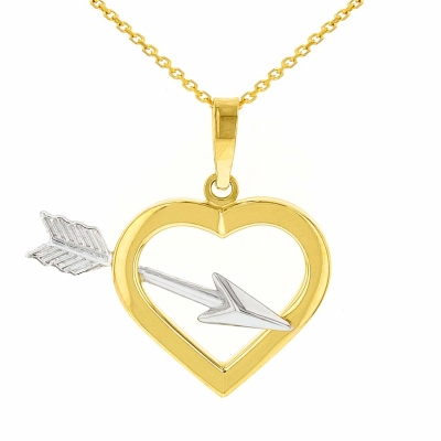 14K Yellow Gold Open Heart with Love Arrow Pendant Necklace