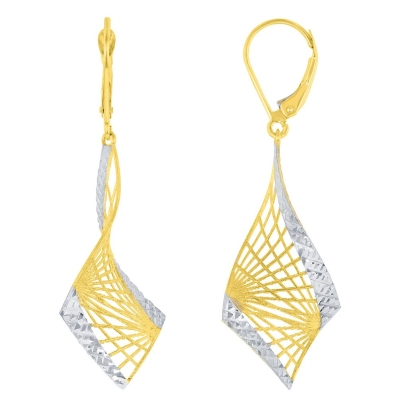 Textured 14K Yellow Gold Two-Tone Fancy Spiral Dangle Earrings with Leverback, 48.25mm x 16.25mm