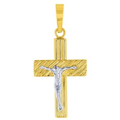 14k Two-Tone Gold Rugged Textured Catholic Cross Crucifix Pendant