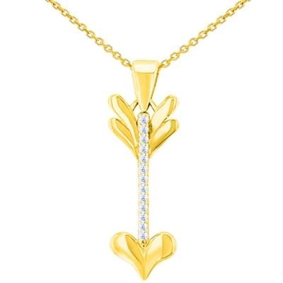 Solid 14K Yellow Gold Reversible CZ Love Arrow Pendant Necklace