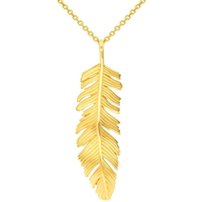 Solid 14k Yellow Gold Polished Feather Charm Pendant Necklace