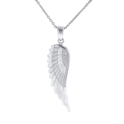 Solid 14k White Gold Textured Angel Wing Charm Pendant Necklace
