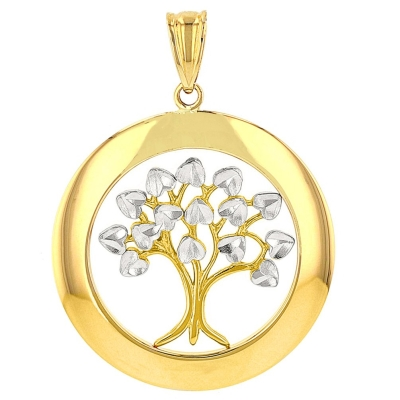 Jewelry America High Polished 14K Yellow Gold Round Tree of Life Pendant