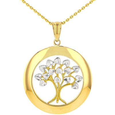 Jewelry America High Polished 14K Yellow Gold Round Tree of Life Pendant Necklace