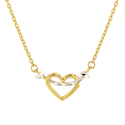 14K Yellow Gold Open Heart with Cupid's Love Arrow Necklace
