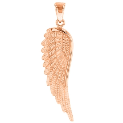 Solid 14k Rose Gold Textured Angel Wing Charm Pendant