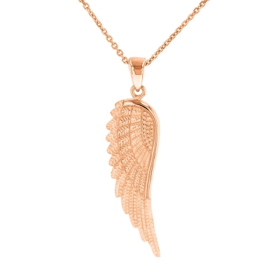Solid 14k Rose Gold Textured Angel Wing Charm Pendant Necklace