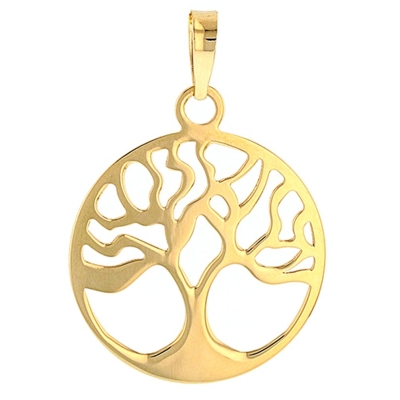 JewelryAmerica Solid 14k Gold Simple Round Tree of Life Charm Pendant