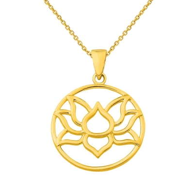 14K Yellow Gold Round Lotus Charm Padma Flower Pendant Necklace