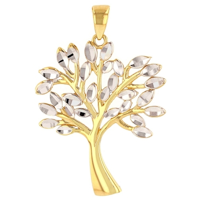 Solid 14K Yellow Gold Textured Elegant Tree of Life Pendant