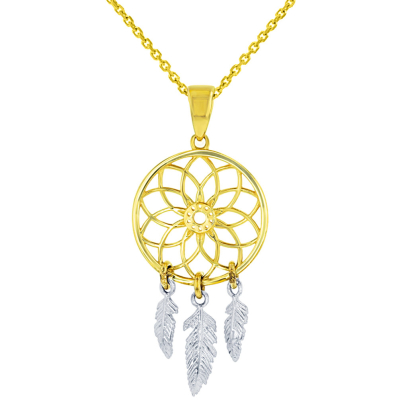 14k Two-Tone Gold Native American Dreamcatcher Charm Pendant Necklace